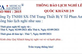 THÔNG BÁO LỊCH NGHỈ LỄ 2/9 CÔNG TY PHAN ANH